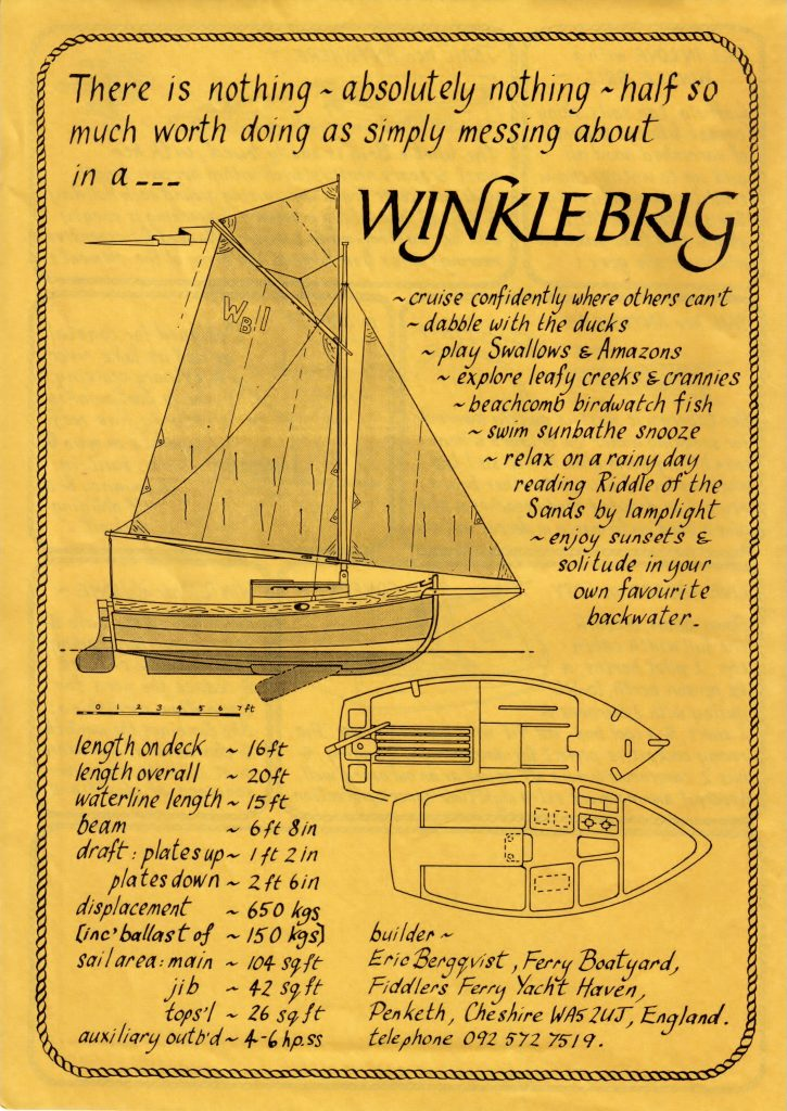 Winkle Brig Cruiser Specifications - Page 1 (August 1991)