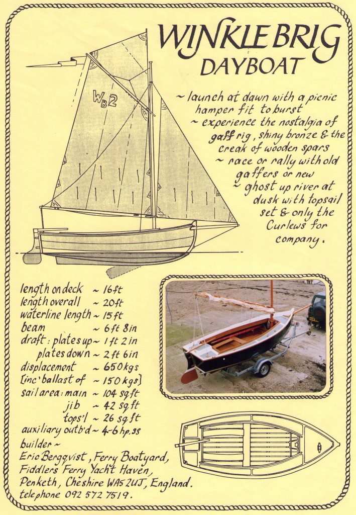Winkle Brig Dayboat Specifications - Page 1 (August 1991)